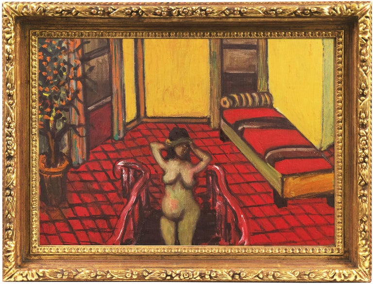 Large Post-Impressionist Interior with a Nude on a Staircase - Painting by Sasha Moldovan