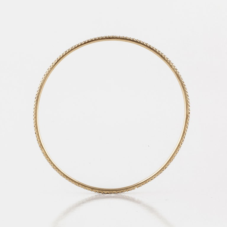 Round Cut Sasha Primak Yellow Gold Diamond Bangle Bracelet For Sale