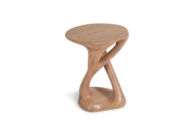 Carved Sasha Side Table, Solid Wood with Antique Oak Finish For Sale