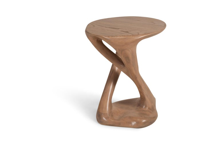 Sasha Side Table, Solid Wood with Antique Oak Finish In New Condition For Sale In Gardena, CA