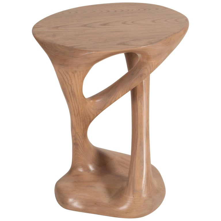 Sasha Side Table, Solid Wood with Antique Oak Finish For Sale