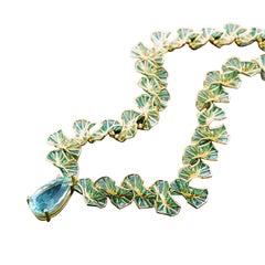 Sasonko 10.7 Carat Aquamarine Diamond Enamel 18 Karat Yellow Gold Necklace