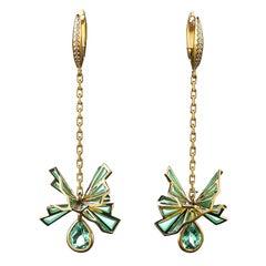 Sasonko 1.7 Carat Tourmaline Diamond Enamel 18 Karat Yellow Gold Earrings