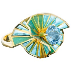 Sasonko 1.71 Carat Aquamarine Enamel 18 Karat Yellow Gold Ring