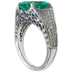 Sasonko 3.49 Carat Emerald Pave Diamonds 18 Karat White Gold Cocktail Ring