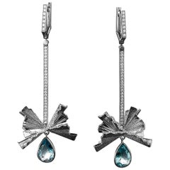 Sasonko 5.12 Carat Aquamarine Diamond 18 White Gold Earrings
