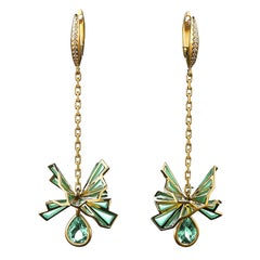 Sasonko 6.1 Carat Aquamarine Diamond Enamel 18 Karat Yellow Gold Earrings