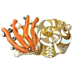 Sasonko Diamond Pearl Coral Sapphire 18 Karat Yellow Gold Brooch