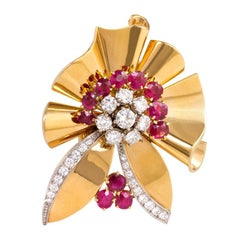 Sasportas, France Retro Gold, Ruby and Diamond Stylized Flower Brooch/Pendant
