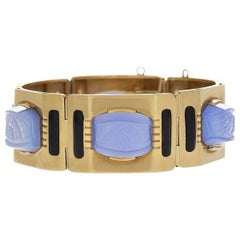 Sasportas Blue Chalcedony and Gold Plaque Bracelet