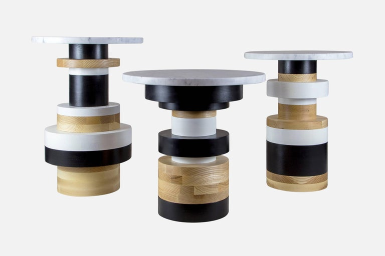American Customizable Sass Side Table Pair from Souda, Short and Tall, Made to Order For Sale
