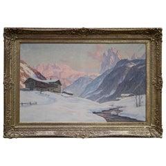 Sassolungo, Erwin Kettemann, Oil on Canvas Dolomites Painting, 1940