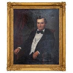 Sat Man Portrait, Giltwood Frame, Napoleon III Period