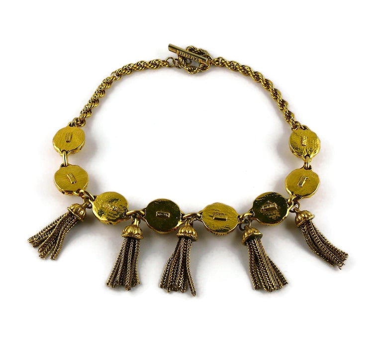 Satellite Paris Vintage Gold Toned Tassel Necklace and Earrings Set For Sale 6