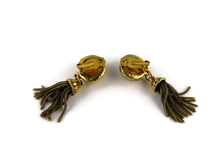 Satellite Paris Vintage Gold Toned Tassel Necklace and Earrings Set For Sale 7