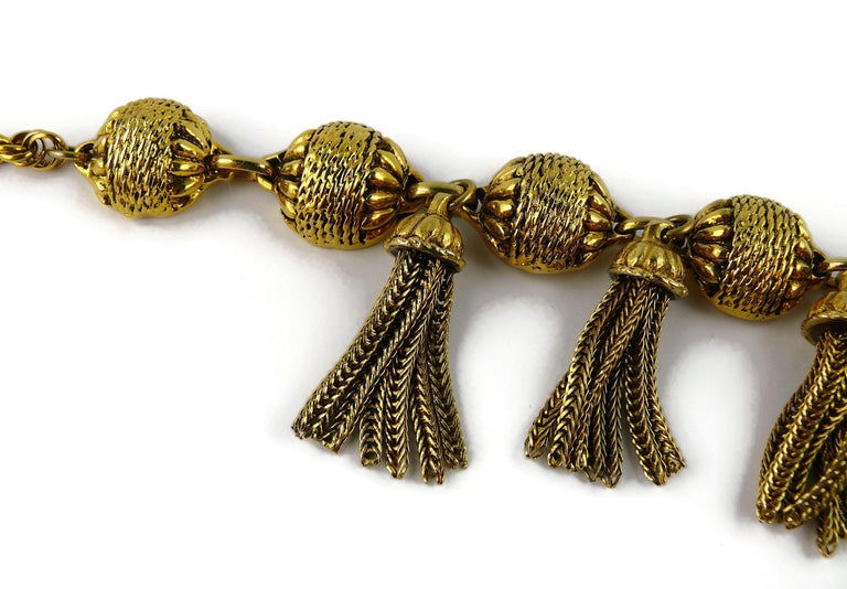 Women's Satellite Paris Vintage Gold Toned Tassel Necklace and Earrings Set For Sale