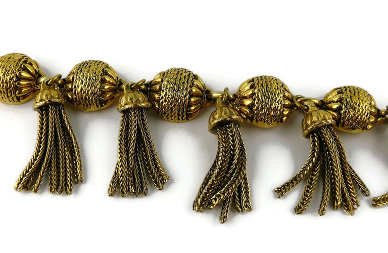 Satellite Paris Vintage Gold Toned Tassel Necklace and Earrings Set For Sale 1