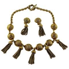 Satellite Paris Vintage Gold Toned Tassel Necklace and Earrings Set