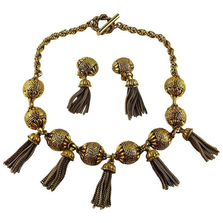 Satellite Paris Vintage Gold Toned Tassel Necklace and Earrings Set For Sale