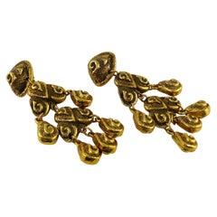 Satellite Paris Vintage Massive Antiqued Gold Toned Chandelier Earrings