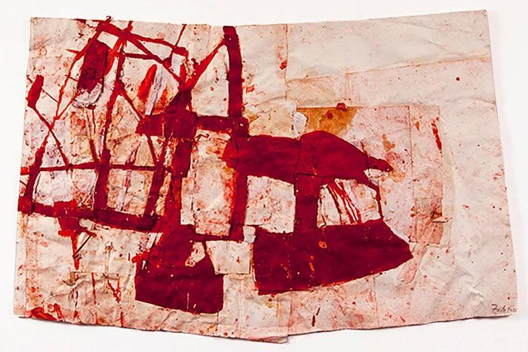 mixed media, oil, plaster, glue on canvas