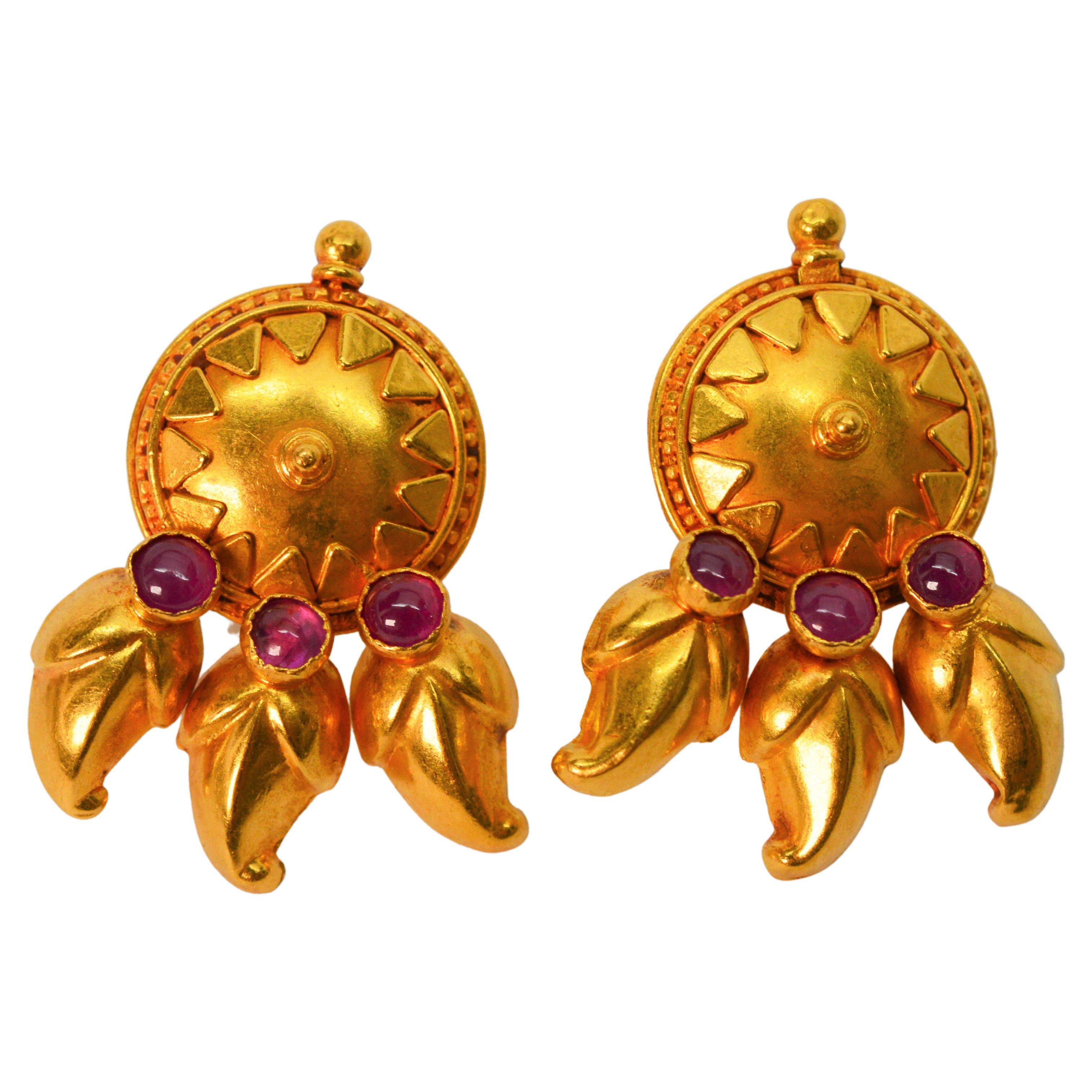 Satin 22 Karat Yellow Gold Medallion Stud Earrings w Ruby Cabochon Accents