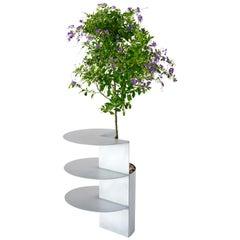 Satin Aluminum Side Table Planter by Birnam Wood Studio