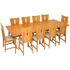 Satin Birch Dining Table & 10 Chairs Vintage, 1950's