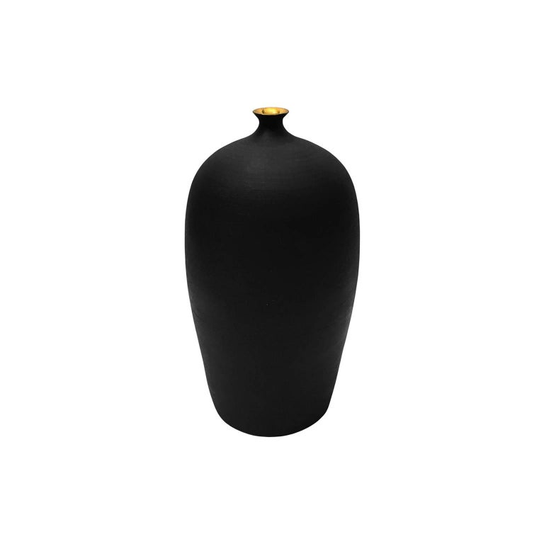 Satin Black Ceramic Bud Vase with Gold Luster Lip by Sandi Fellman For Sale