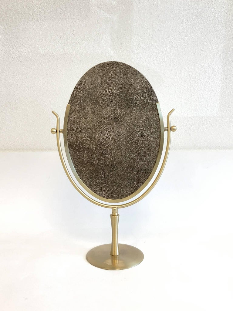 Satin Brass And Leather Vanity Mirror By Charles Hollis