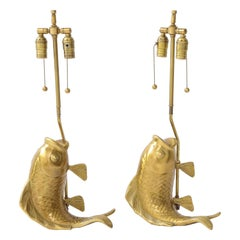 Satin Brass Koi Fish Lamps