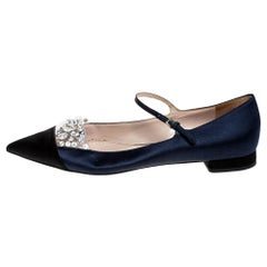 Satin Crystal Embellished Mary Jane Pointed Toe Ballet Flats Size 38.5