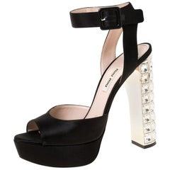 Satin Embellished Block Heel Peep Toe Platform Ankle Strap Sandals Size 37.5
