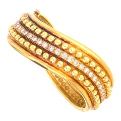 Satin Finish 18 Karat Yellow Gold Diamond Textured Hinged Bangle Bracelet