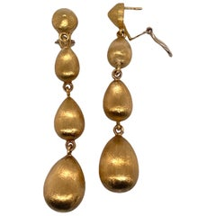 Satin Finish 18 Karat Yellow Gold Drop Dangle Earrings Leverbacks