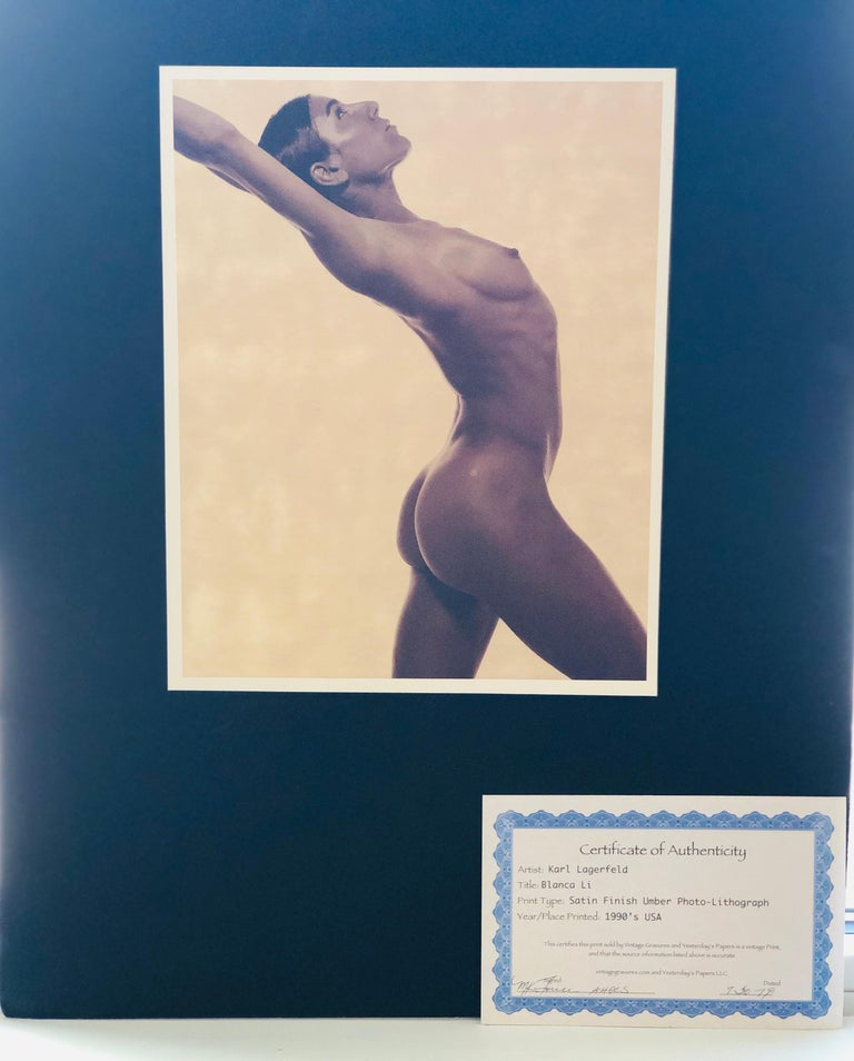 Offered is a satin finish umber (brown and white) photo-lithograph by Karl Lagerfeld entitled