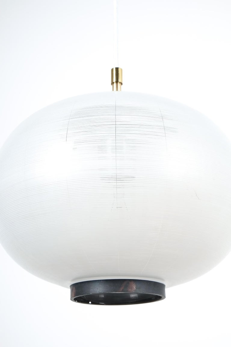 Mid-Century Modern Satin Glass and Brass Pendant Lamp by Stilnovo, Italy, 1950 For Sale