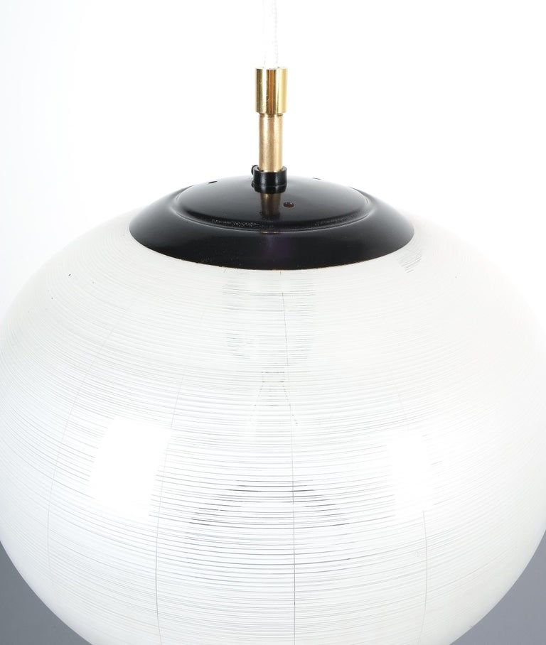 Mid-20th Century Satin Glass and Brass Pendant Lamp by Stilnovo, Italy, 1950 For Sale