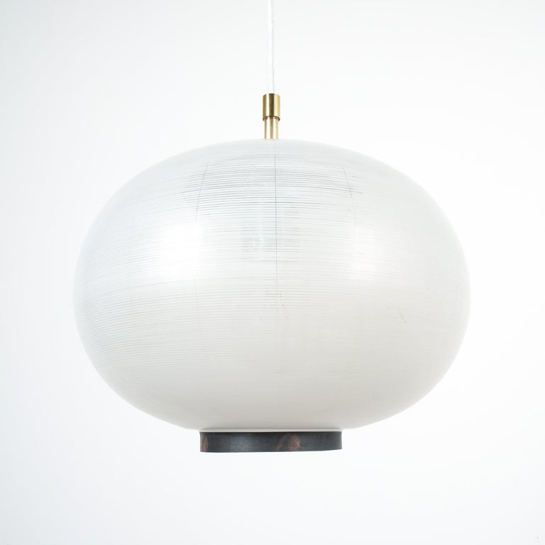 Satin Glass and Brass Pendant Lamp by Stilnovo, Italy, 1950 For Sale 1
