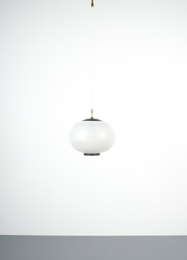 Satin Glass and Brass Pendant Lamp by Stilnovo, Italy, 1950 For Sale 2