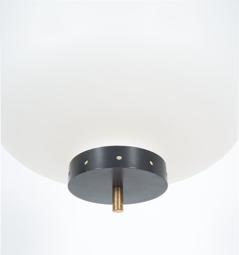 Satin Glass and Brass Suspension Pendant Lamp by Stilnovo, Italy, 1950 For Sale 4