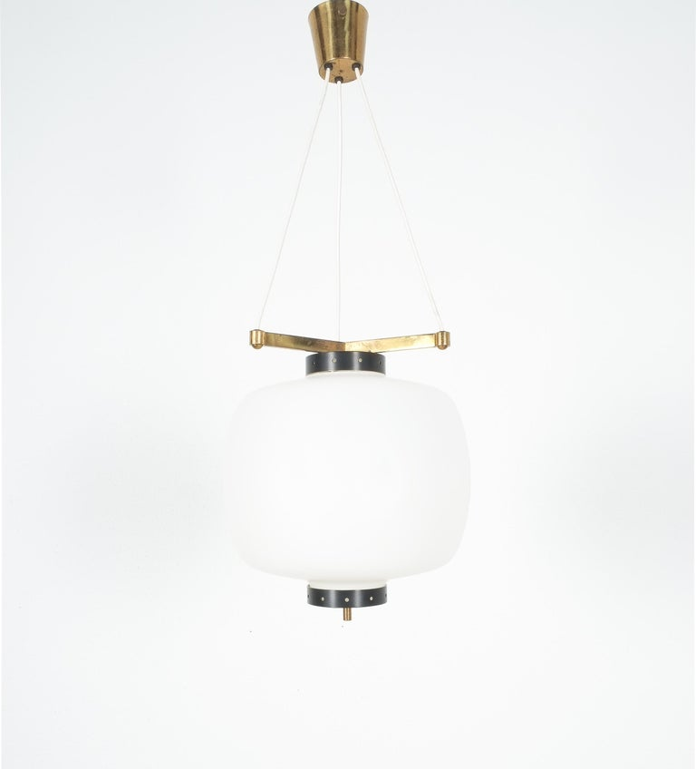 Satin Glass and Brass Suspension Pendant Lamp by Stilnovo, Italy, 1950 For Sale 5