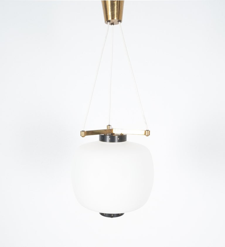 Satin Glass and Brass Suspension Pendant Lamp by Stilnovo, Italy, 1950 For Sale 6