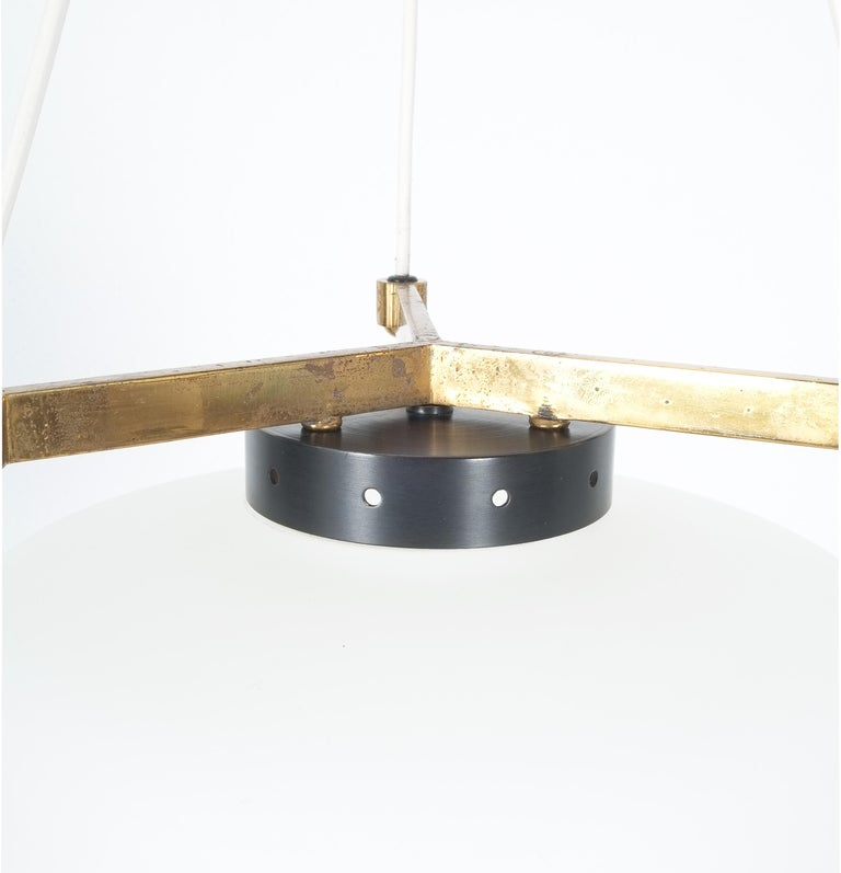 Satin Glass and Brass Suspension Pendant Lamp by Stilnovo, Italy, 1950 For Sale 7