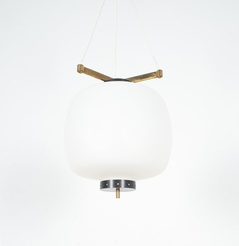 Satin Glass and Brass Suspension Pendant Lamp by Stilnovo, Italy, 1950 For Sale 1