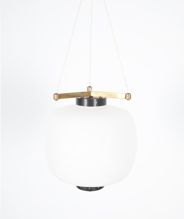 Satin Glass and Brass Suspension Pendant Lamp by Stilnovo, Italy, 1950 For Sale 3