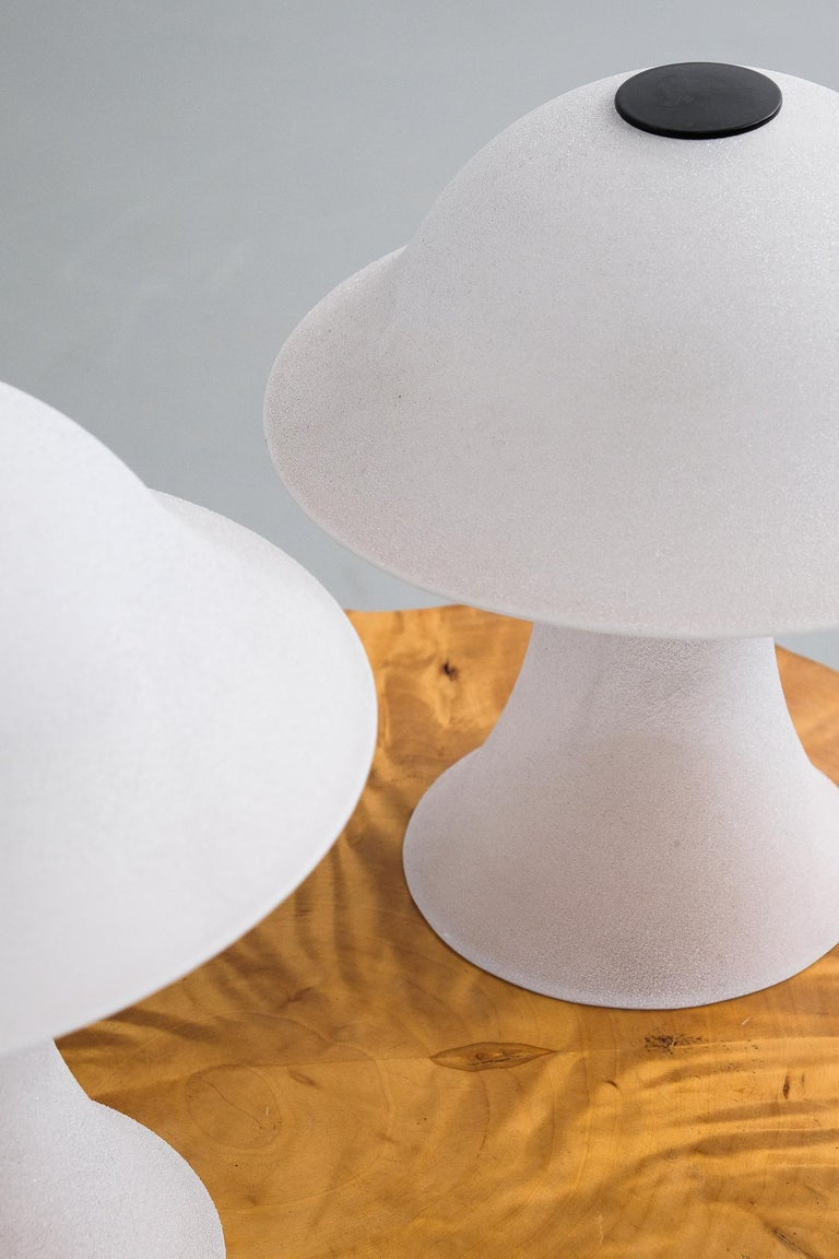 Space Age Satin Glass Mushroom Table Lamps by Peill Putzler, 1970s For Sale