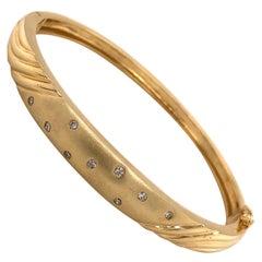 Satin Gold Bangle Bracelet with Diamond Accents