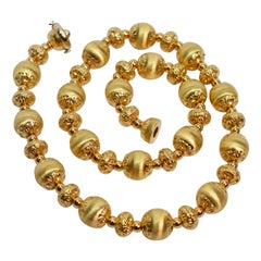 Satin Gold Couture Beaded Necklace