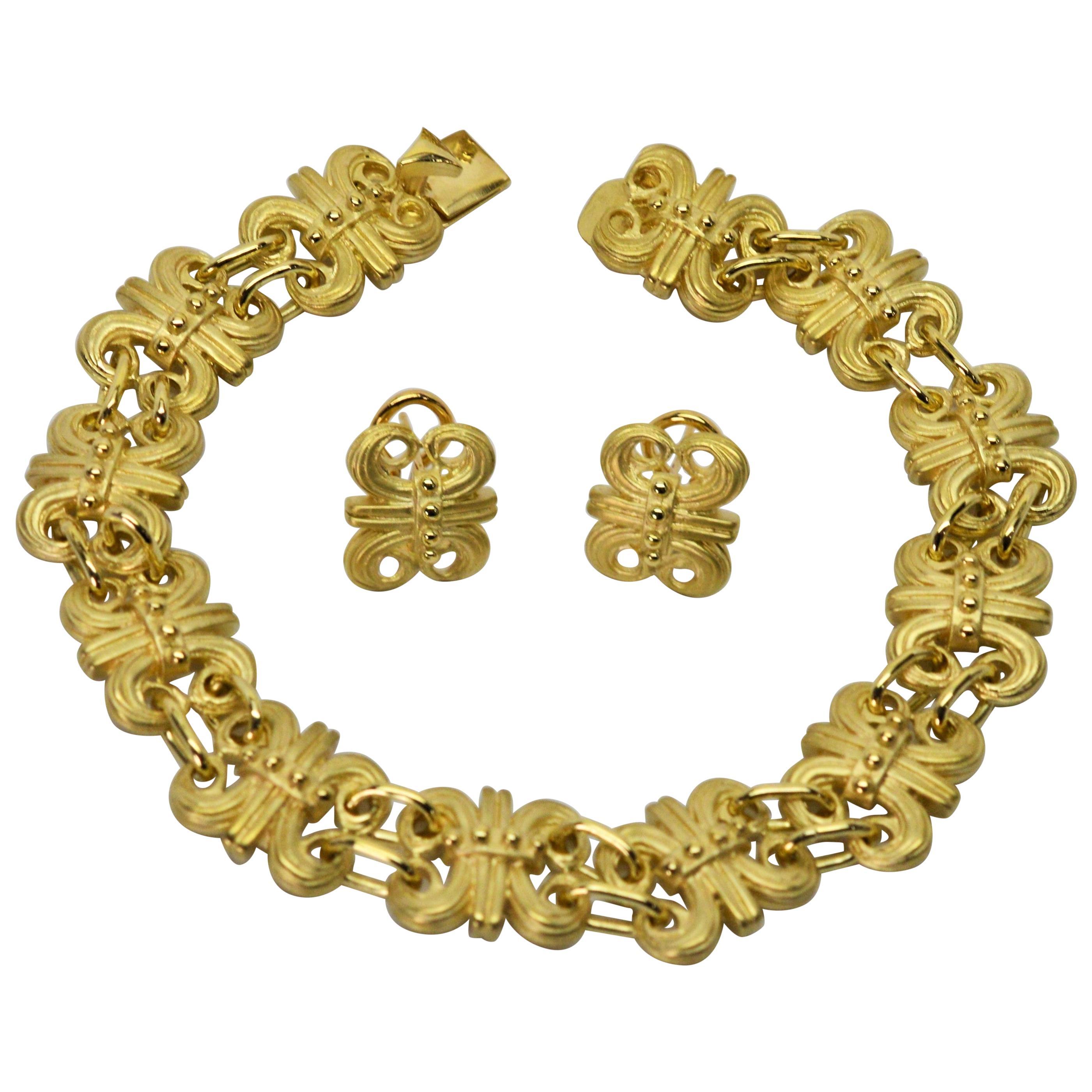 Satin Gold Fleur-de-Lis Bracelet and Earring Set